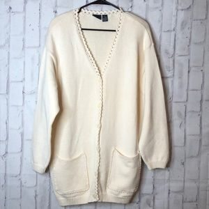 Liz Sport Knit Sweater Duster Cardigan Cream